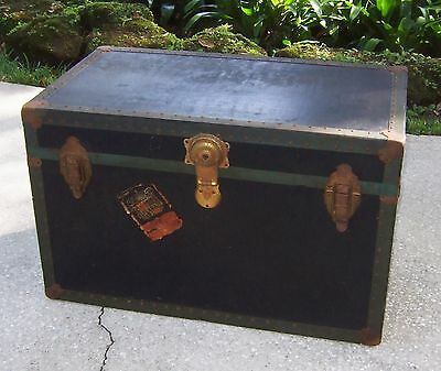 Vtg STORAGE TRUNK BLACK flat top coffee table foot locker train luggage chest