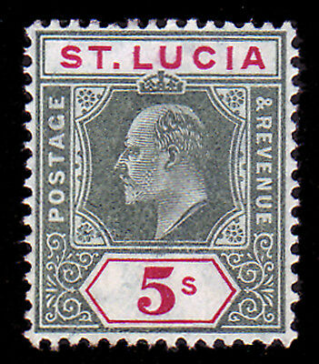 St Lucia. Sg 76, 5/- Green & Carmine. Unmounted Mint.