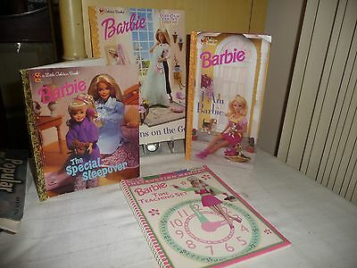 #98 vtg Lot 4 BARBIE BOOKS COLORING / STORY / etc Golden / Hope 1990`s BOOKS