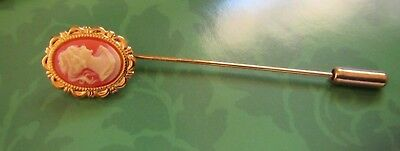 Vintage 1980's Cameo Stick Pin Brooch