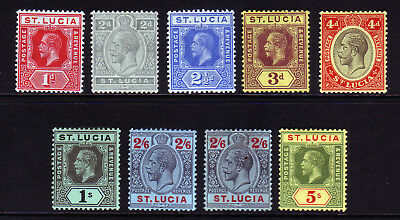 St Lucia. 1912-21. Sg 79-88. Mounted Mint.