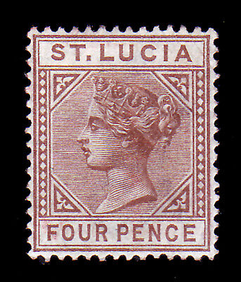 ST LUCIA. SG 34, 4d BROWN. DIE I. MOUNTED MINT.