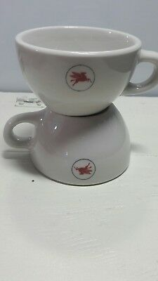 Vintage Mobil Gas Oil Logo Flying Pegasus Ceramic Cup 4inches 2.5 inches set 2