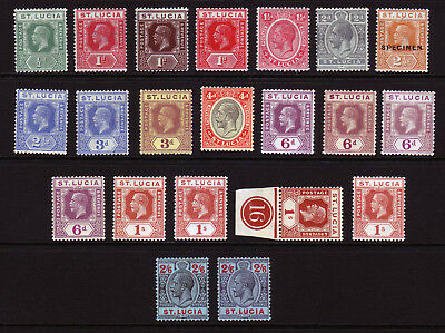 ST LUCIA. KGV. MOUNTED MINT SELECTION. 1/2d to 2/6.