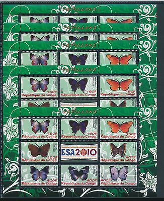 BB1-1803 Congo 2010 insects bugs butterflies 5 sheets MNH