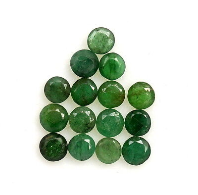 2.61 Cts Natural Emerald Round Cut Up to 3.50 mm Lot 15 Pcs Untreated Loose Gems