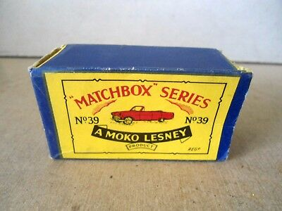 Matchbox Regular Wheels Original Empty Box - no.39a Ford Zodiac Convertible.