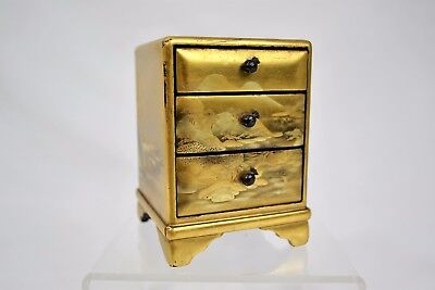 Vintage Japanese Gold Colour Lacquer Miniature Cabinet 3 Drawer Collectible