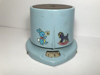 Vintage Baby Scale Blue With Characters Bunny Horse Can Use For Postage Weight
