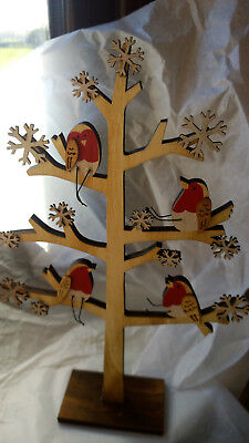 Christmas Display - Freestanding Wooden Tree with Robins & Snowflakes