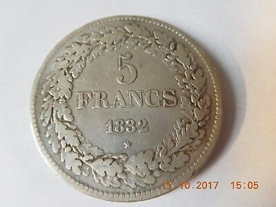 Belgium - 5 Francs 1832 Pos A - Leopold 1 - Very Fine(+)  - Scarce Year - KM#3.1