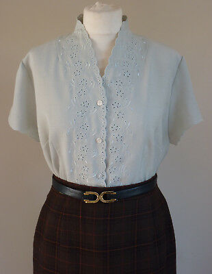 Vintage 1940s-1950s Duck Egg Green Beautiful Embroidered Detail Shirt/Blouse 14