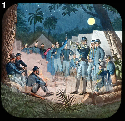 3 Civil War Magic Lantern Slides Tenting Tonight, All Quiet on Potomac, Fritchie