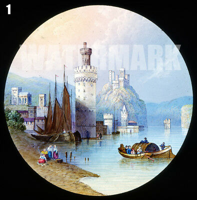 3 Magic Lantern Slides: Castles: Oberwesel; St. Andrews; Windsor New Terrace