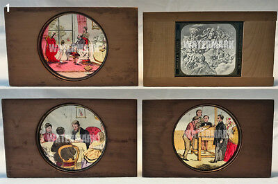 4 Temperance Magic Lantern Slides: Drunkard's Nightmare Demons vs Temperate Home