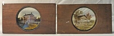 2 Civil War Magic Lantern Slides: 2 Very Different Homes of Abraham Lincoln