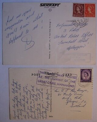 Elizabeth II: Tourist Posting 1950's Postcards from Great Orme & Aviemore.