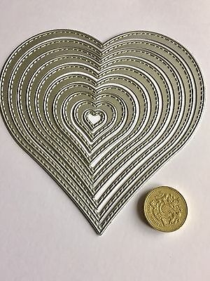 Craft Die 10 Stitched Hearts. Cards, Scrapbooking. U.K. Seller