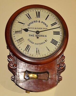 A Rare Victorian Fusee Drop Dial Wall Clock - Spiers & Pond Stores c.1890