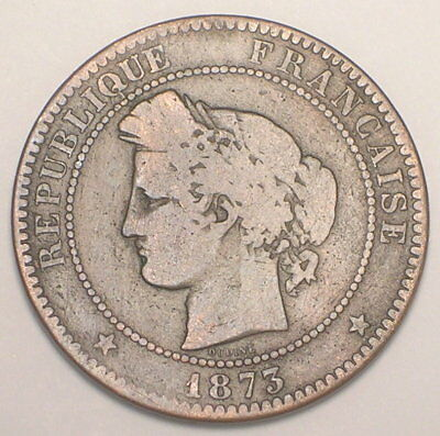 1873 France French 10 Centimes Head of Ceres Coin