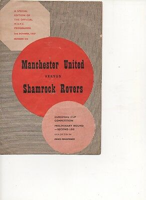 Man Utd v Shamrock Rovers  European Cup  2nd leg match programme 2/10/57
