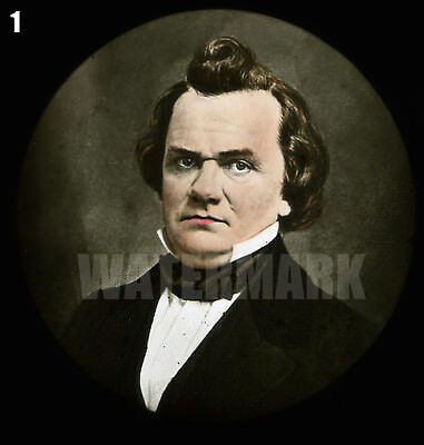 2 Magic Lantern Slides: Portraits of Stephen A. Douglas and Abraham Lincoln