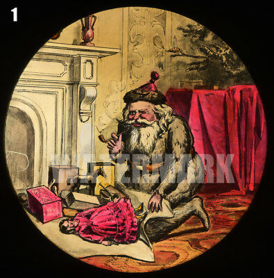 2 Magic Lantern Slides 19th-Century Christmas: Toys Under Tree & a Jolly Old Elf