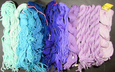 19x Needlepoint/Embroidery THREADS Unlabeled 3-ply Persian Wool/Blue,Purple-PN38