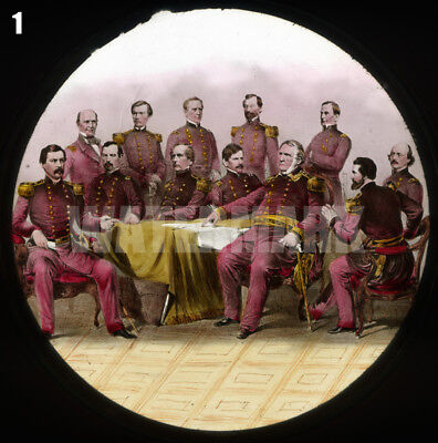 Civil War Magic Lantern Slide: 12 Union Generals - NOW IN THE FIELD!
