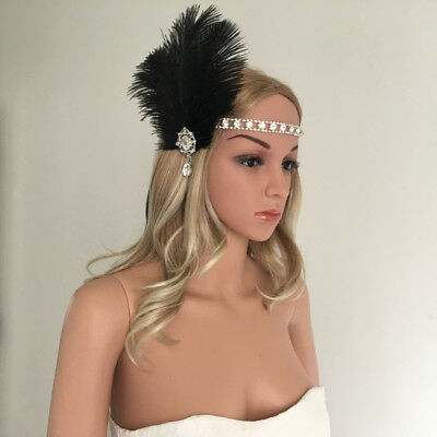 Vintage Woman Flapper Feather Fascinator 1920s Great  Forehead Decor
