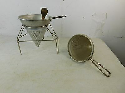 2 Vintage Rice Ricers Strainers Sifters, Stand & Pestle Lot