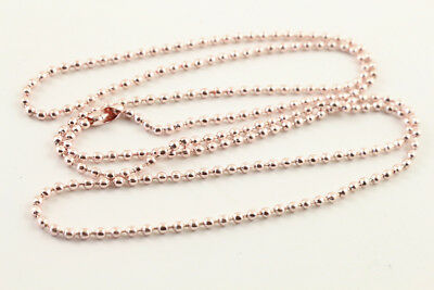 """5pcs 2mm Rose Gold Plated Ball Finished Necklace 
