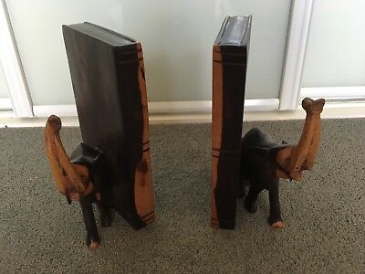 Pair of Carved Wooden Wood Elephant Bookends
