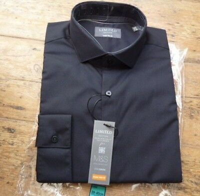"NWT 40""Chest MENS M&S STAY BLACK SUPER SLIM FIT Long Sleeved Shirt 15.5"" Collar"