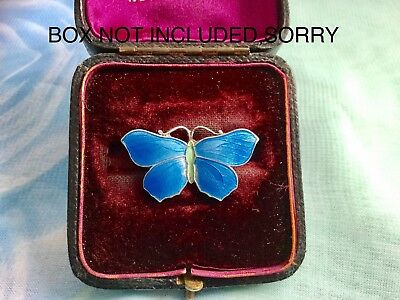 Exquisite Antique Silver & Enamel Blue Butterfly Brooch ... Free Uk Postage