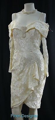 New Leaf cream Wedding Ball bead lace bridal Victorian dress knee gown 6 S M VTG