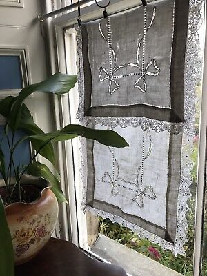 """C1900 Superb Chateau antique FRENCH white Lace CURTAIN DRAPERY Project 16""""/ 40"""""""