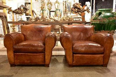 Pair of large vintage French club chairs with mustache back vintage club chairs