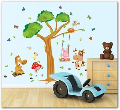 Animal Monkey on Tree Wall Decal Baby Stickers for Kids Room decoracion infantil