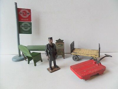 Britains & John Hill Pre-War Painted Lead Railway Items + Tinplate Items