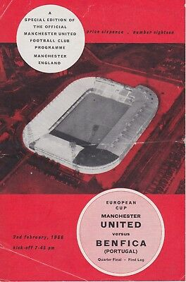 MANCHESTER UNITED v BENFICA  ~ EUROPEAN CUP QUARTER FINAL ~ 2 FEBRUARY 1966