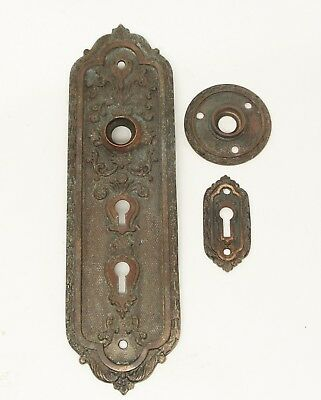 Antique Bronze Plate with Keyhole & Rosette
