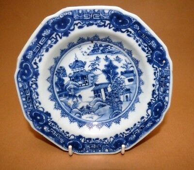 A Pair Of 18Th Century Chinese Blue And White Pudding Plates, Qianlong