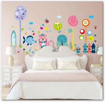 Animals Wall Stickers for Kids Rooms Cat Fish Lover Infant  Decoracion  infantil