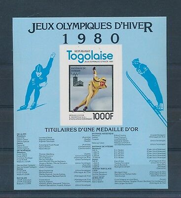 LH25271 Togo imperf Lake Placid 1980 olympic games sheet gold MNH