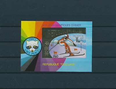 LH25281 Togo imperf Lake Placid 1980 olympic games sheet gold MNH