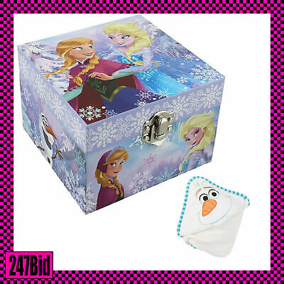 "Disney ""frozen"" Anna & Elsa Themed Musical Jewellery Box + Olaf Hooded Blanket"