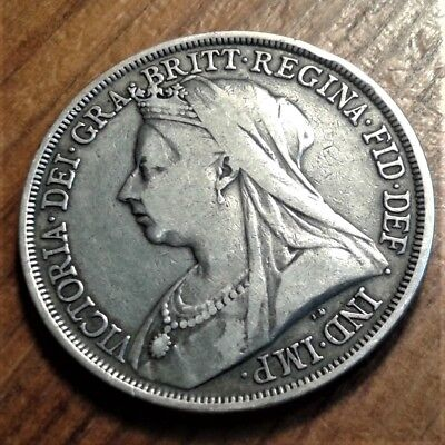 1893 (LVI) Victorian 'Veil-head' Silver Crown: KM#783 / Sp#3937 F>VF