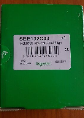 Schneider iKQE / Square KQ 32A Rcbo Type C 30mA SEE132C03 Acti9