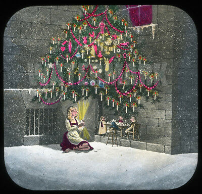 3 Match-Girl Magic Lantern Slides: Christmas Vision, Meeting in Heaven, Frozen